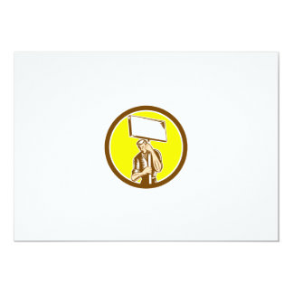 Protester Activist Union Worker Placard Sign Woodc Personalized Invite