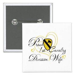 Proud 1st Cavalry Wife Heart 15 Cm Square Badge