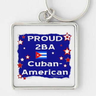 Proud 2BA Cuban-American Silver-Colored Square Key Ring