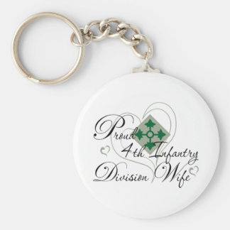 Proud 4th Infantry Wife Heart Key Ring