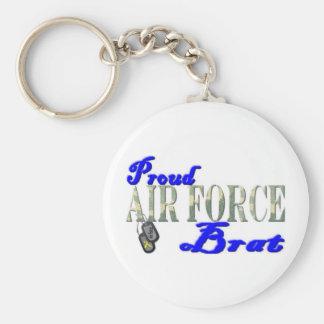 Proud Air Force Brat Basic Round Button Key Ring