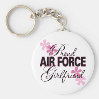 Proud Air Force Girlfriend Basic Round Button Key Ring
