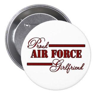 Proud Air Force Girlfriend Red N Black Pinback Button