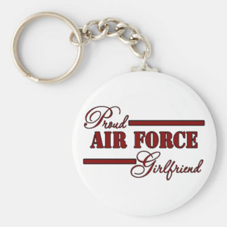 Proud Air Force Girlfriend (Red N Black) Basic Round Button Key Ring