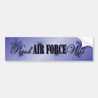 Proud Air Force Wife Blue Hibiscus Bumper Sticker