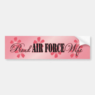 Proud Air Force Wife Peach Flowers Bumper Sticker
