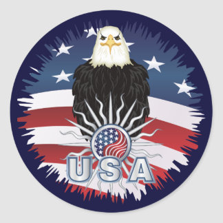 Proud American Eagle Classic Round Sticker