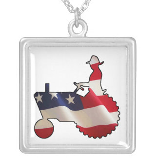 Proud American Farmer  USA Flag Tractor Jewelry