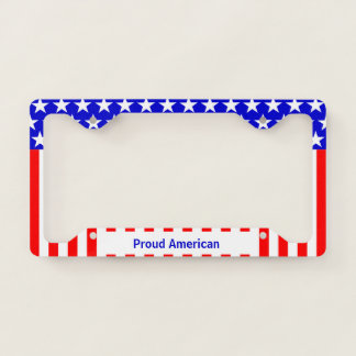 Proud American Flag Licence Plate Frame