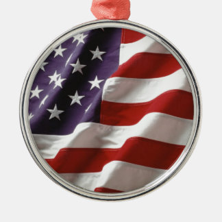 Proud and Patriotic USA Flag Metal Ornament