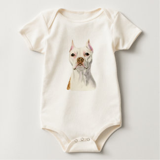 """""""Proud and Tall"""" White Pit Bull Dog Portrait Baby Bodysuit"""