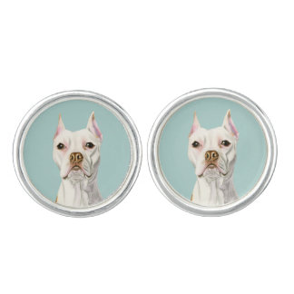 """Proud and Tall"" White Pit Bull Dog Portrait Cufflinks"