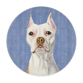 """Proud and Tall"" White Pit Bull Dog Portrait Cutting Board"