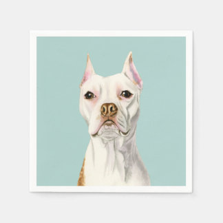 """""""Proud and Tall"""" White Pit Bull Dog Portrait Disposable Napkin"""