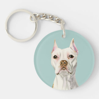 """""""Proud and Tall"""" White Pit Bull Dog Portrait Key Ring"""
