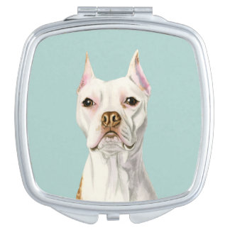 """Proud and Tall"" White Pit Bull Dog Portrait Mirrors For Makeup"