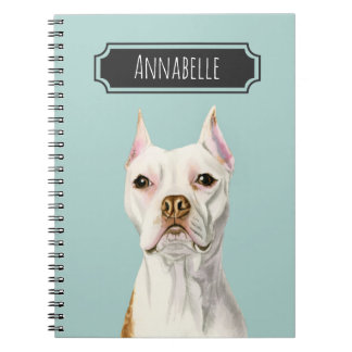 """""""Proud and Tall"""" White Pit Bull Dog Portrait Notebook"""