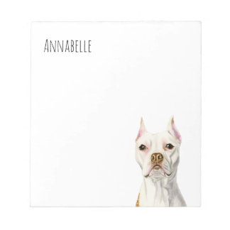 """""""Proud and Tall"""" White Pit Bull Dog Portrait Notepad"""