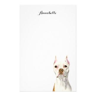 """""""Proud and Tall"""" White Pit Bull Dog Portrait Stationery"""