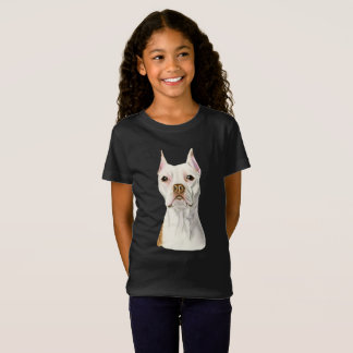 """""""Proud and Tall"""" White Pit Bull Dog Portrait T-Shirt"""