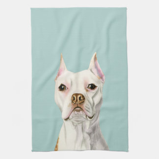 """Proud and Tall"" White Pit Bull Dog Portrait Tea Towel"