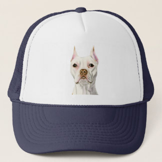 """Proud and Tall"" White Pit Bull Dog Portrait Trucker Hat"