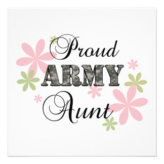 Proud Army Aunt fl c Personalized Invitations