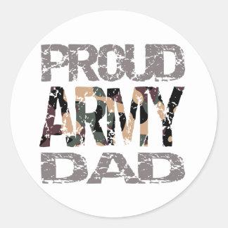 Proud army dad round sticker
