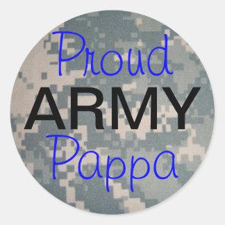 Proud Army Pappa Round Sticker