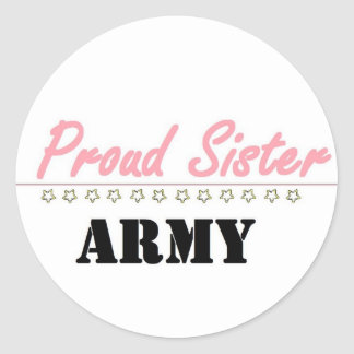 proud army sister (1) round sticker