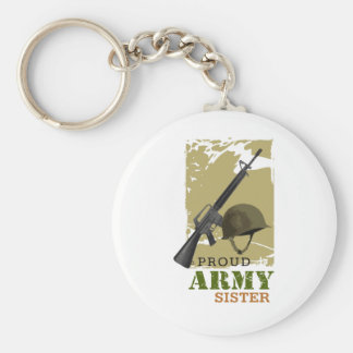 Proud Army Sister Basic Round Button Key Ring