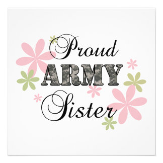Proud Army Sister fl c Invitations