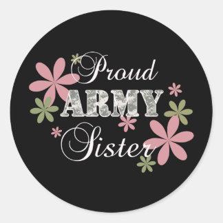 Proud Army Sister [fl c] Round Sticker