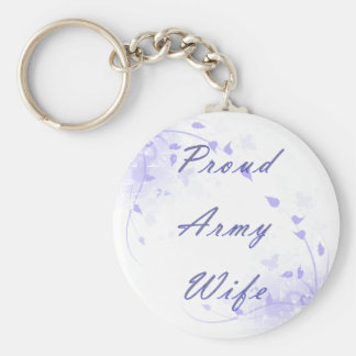 Proud Army Wife Basic Round Button Key Ring