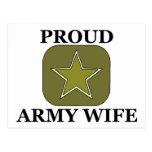 Proud Army Wife Green Star Postcard