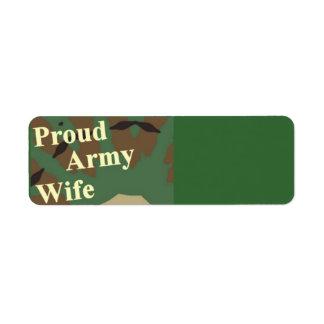 Proud Army Wife Return Address Label