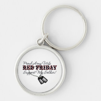Proud Army Wife (Support My Soldier) Silver-Colored Round Key Ring