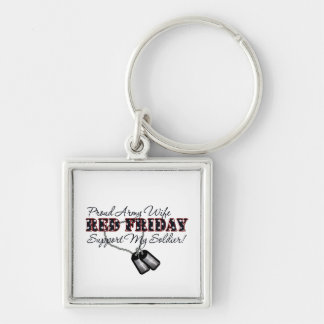 Proud Army Wife (Support My Soldier) Silver-Colored Square Key Ring