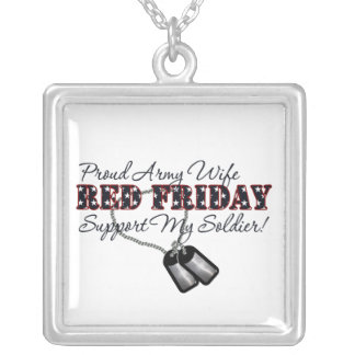 Proud Army Wife (Support My Soldier) Square Pendant Necklace
