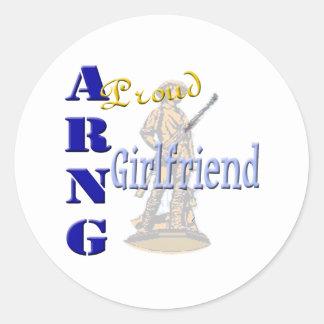 Proud ARNG Girlfriend Round Sticker