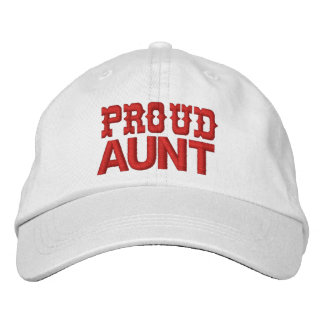 PROUD AUNT A02 RED Embroidery Embroidered Cap