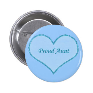 Proud Aunt Button, Blue 6 Cm Round Badge