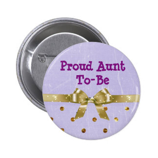 Proud Aunt-To-Be Lavender & Gold Baby Shower 6 Cm Round Badge