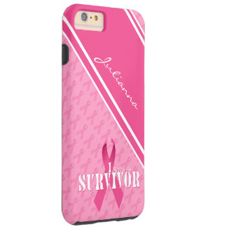 Proud Breast Cancer Survivor Pink Ribbon Tough iPhone 6 Plus Case