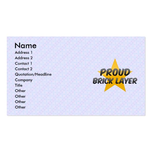 Proud Brick Layer Business Card Template
