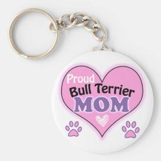 Proud bull terrier Mom Basic Round Button Key Ring
