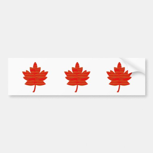 Proud Canadian MAPLE LEAF :ENERGETIC  Red on Silk Bumper Stickers