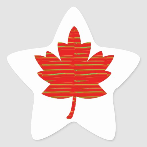 Proud Canadian MAPLE LEAF :ENERGETIC  Red on Silk Star Stickers