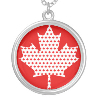 Proud Canadian Red and White Maple Leaf Round Pendant Necklace