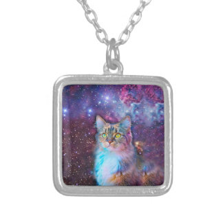 Proud Cat With Space Background Silver Plated Necklace